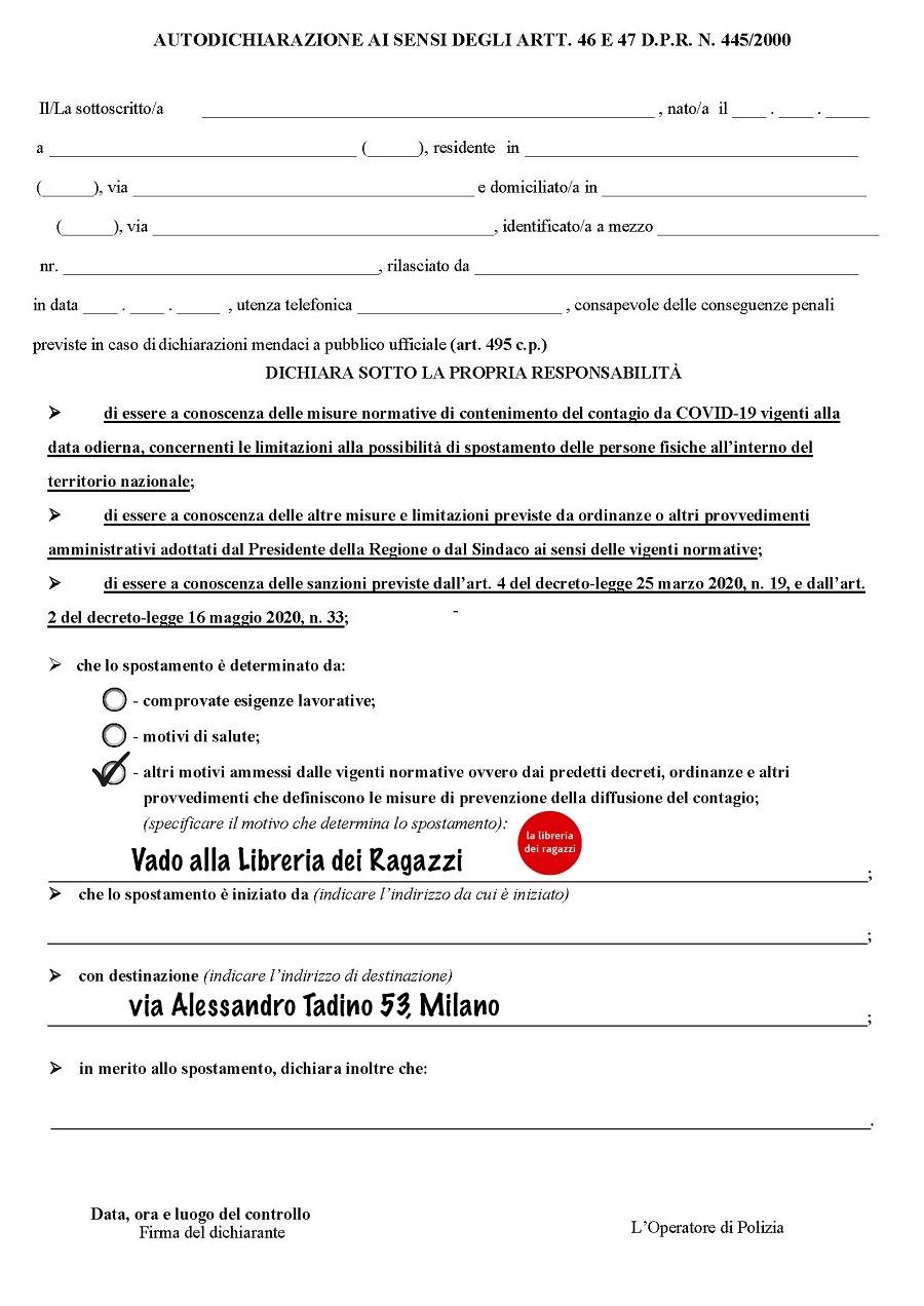 autocertificazione Milano